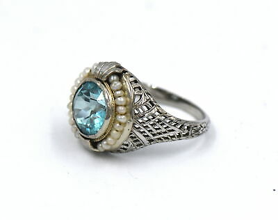 Antique Art Deco Blue Zircon Seed Pearl Ring Filigree 14K White Gold Size 5.5