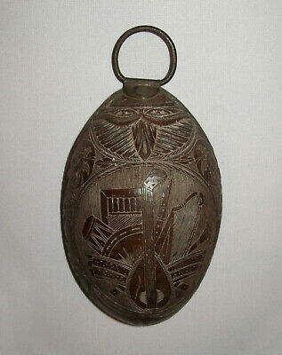 Antique Vtg 19th C 1800s Folk Art Carved Coconut Cup Dated 1875 Muscial Instrum