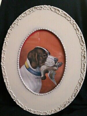 Vintage Framed Picture Of Dog Pointer With Bird In Mouth