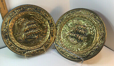 Sailing Ship Boats Brass Embossed Decorative Wall Plate Made in England 11 3/4""