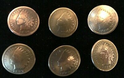 VINTAGE Lot of 6 1897 INDIAN HEAD PENNY Buttons Conchos w/Loops