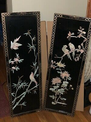 Antique Oriental Floral Birds Mother Of Pearl Wall Art