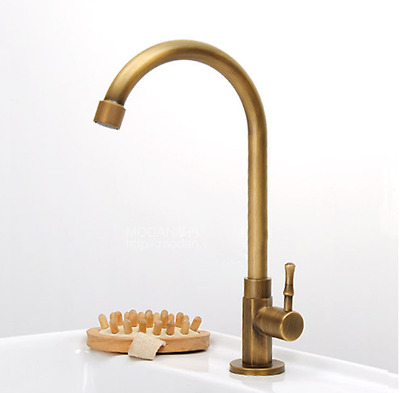 Antique Brass Swivel Spout Bathroom/Kitchen Faucet Tap Only Cold Water