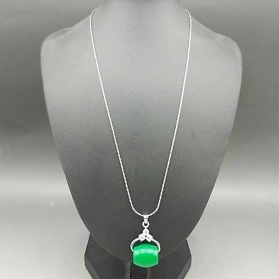 Exquisite Silver Inlaid Natural Jade Necklace & Pendant z9016