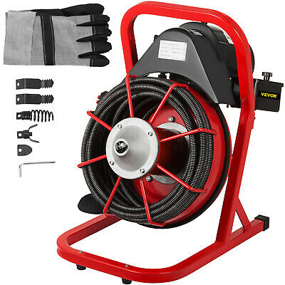 """Drain Cleaning Machine Drum Drain Cleaner 50'x3/8"""" Solid Core Cable Foot Switch"""