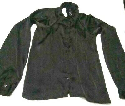 Women Black Open Lace Back Long Sleeve Button Up Top Size Medium