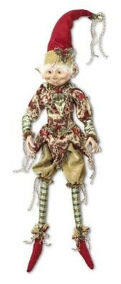 """Christmas Elf Jester Gold Green Red Posable 20"""" Doll Holiday Decor Bells"""