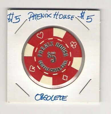 1 - Cripple Creek Colorado Chip, Phenix House Casino $5 Hard To Find, Obs.