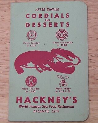 1960 ATLANTIC CITY'S HACKNEY'S SEA FOOD RESTAURANT Cordials & Dessert Menu