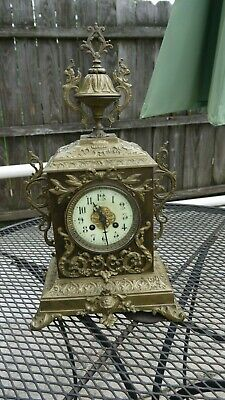 antique fancy decorative french brass mantle clock parts/project