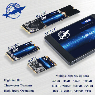 "240GB 480GB 1TB SSD SATA mSATA M.2 2.5"" Internal Solid State Drives 550MB/s LOT"