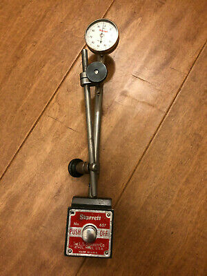 STARRETT 657 Magnetic Base Indicator Holder with Starrett Dial and Accessories!