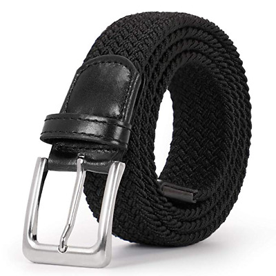 JASGOOD Men Elastic Belt Braided Canvas Stretch Belt for Causal Jeans Pants 276