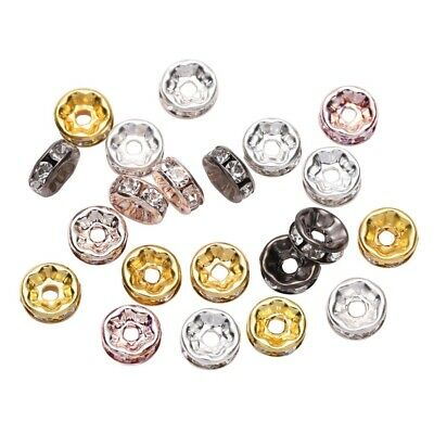50pcs DIY Jewelry Making Rhinestone Rondelles Crystal Loose Spacer Beads for Gif