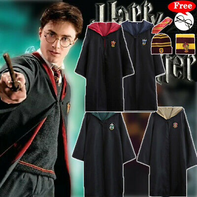 For Harry Potter Gryffindor Hufflepuff Slytherin Robe Cloak Cosplay Costume Cape