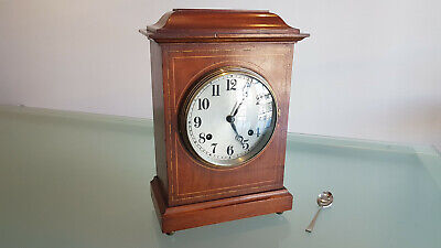 ANTIQUE MANTLE CLOCK, NEWHAVEN CLOCK Co. REGENCY STYLED MAHOGANY. WORKING.