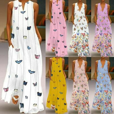 AU Womens Holiday Sleeveless Ladies Maxi Long Summer Print Beach Dress Size 8-22