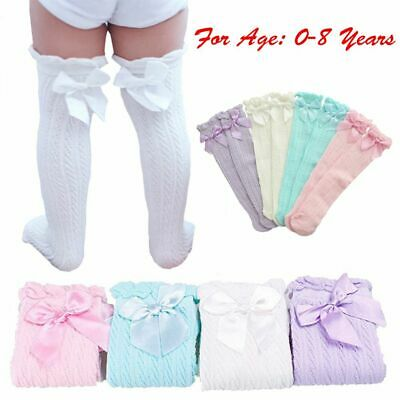 Cotton Infant Kids Tights Knee High Stockings Baby Lace Socks Bowknot Pantyhose