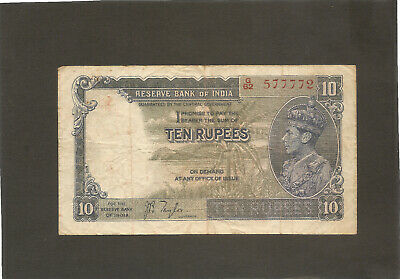 1937 India Ten Rupees Banknote KGVI
