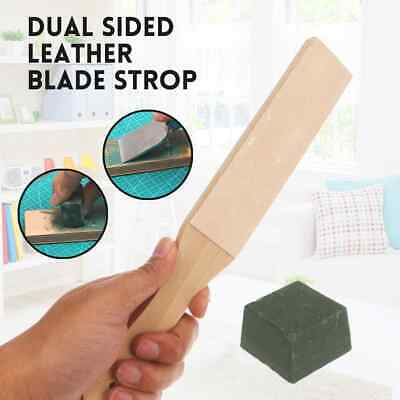 Dual Sided Leather Blade Strop Knife Razor Sharpener&Polishing Compounds Tools