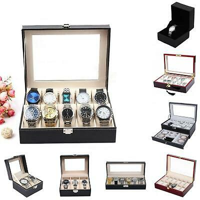 1-12 Slots Watch Display Case Jewelry Storage Organizer Faux Leather Box Surpris