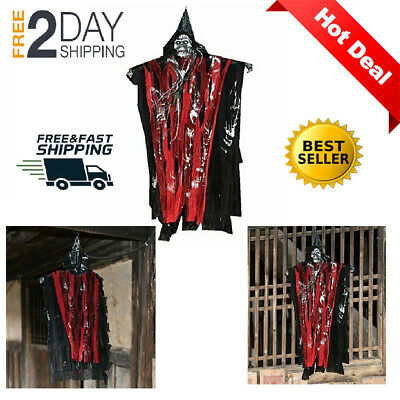 Scary Halloween Decorations Ghost Glowing Red Eyes Hanging Skull Skeleton Props