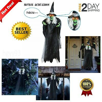 Life Size Hanging Creepy Animated Witch For Scary Halloween Decorations Outdoor
