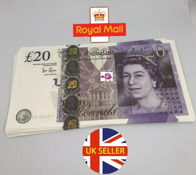 100x 20 Notes Realistic UK Pounds Prop Money British ACTUAL SIZE! -Fast shipping