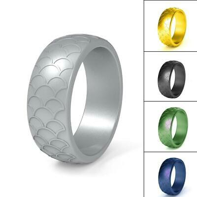 Fish Scale Silicone Ring Men Women Sports Wedding Flexible Bands Rubber Z3U2