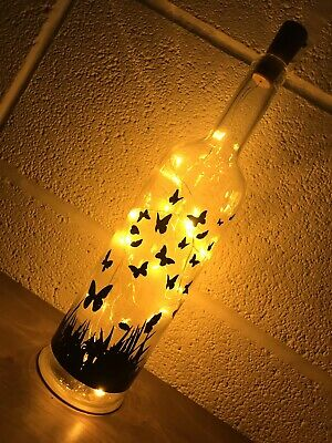 Butterfly Light Up Bottle, Unique, Gift, Memorial, Christmas, Personlised