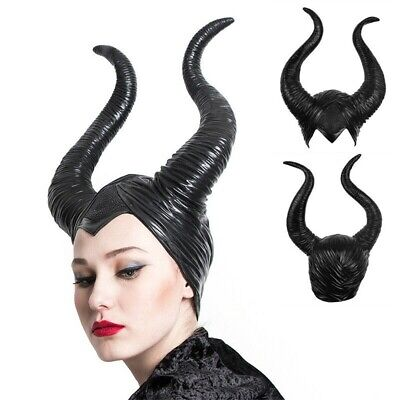 Evil Black Queen Hat Copricapo da donna nero Halloween Cosplay Maleficent Horns