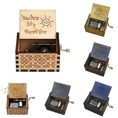 Retro Wooden Engraved Hand Crank Music Box Crafts Birthday Gift Musical Toy