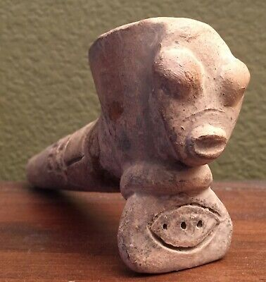 "Unique Pre-columbian Clay "" Alien"" pipe, lake Cuitzeo, Mexico"