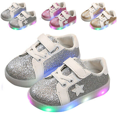 Toddler Kids Star Luminous LED Shoes Sports Trainers Casual Shoes Sneakers 2-6 Y