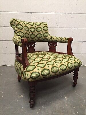 Late Victorian Walnut Armchair Upholstered in a Green Tapestry Stitched Fabric