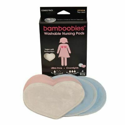 Bamboobies Washable Nursing Pads Combo Pack Ultra Thins & Overnight - 4 Pads