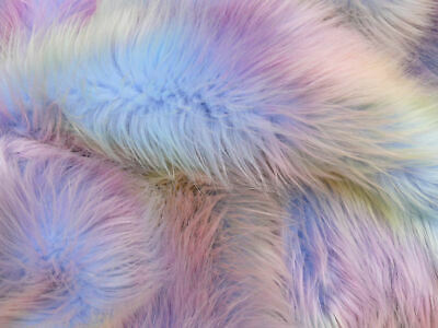 Rainbow Deluxe 60mm Pile Faux Fur Fabric Super Luxury Fabric with guard hairs