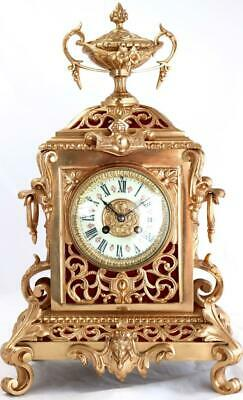 Antique Large Mantle Clock French Beautiful Pierced Bronze Bell Striking C1870