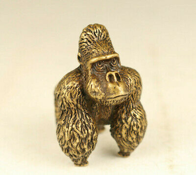 rare old bronze hand casting gorilla statue figure collect table ornament gift