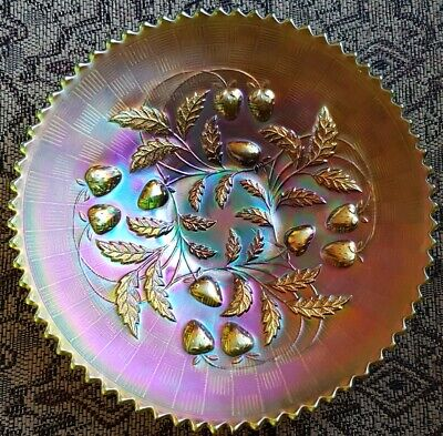 Northwood Green Carnival Glass Strawberry Basket Weave Plate Bowl Excellent
