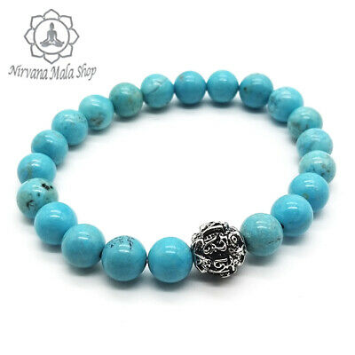 Real Turquoise Stone Wrist Mala with Tibetan Mantra Carved Bead