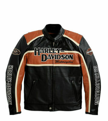 Men's Harley Davidson Classic Cruiser Orange Black Cowhide Leather Jacket