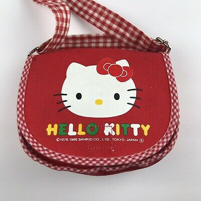 Vintage 1995 Hello Kitty Sanrio Mini Purse Red Gingham Tokyo Japan