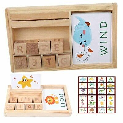 3in1 Spelling Learning Game Wooden Spelling Word Enlightenment Baby Gift Durable