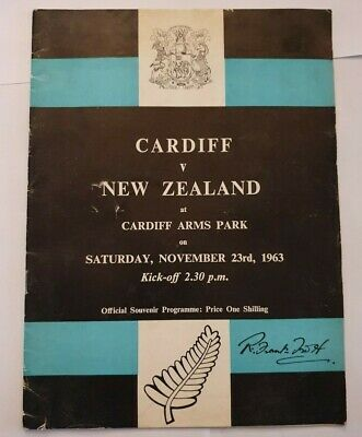 NEW ZEALAND v CARDIFF RUGBY UNION PROGRAMME 1963 TOUR