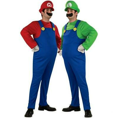 Mens Adult Super Mario AND Luigi Workmen Couples Fancy Dress Costumes Outfits