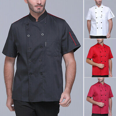 Male Casual Chef Kitchen Cook Coat Short Sleeve Tops Solid Buttons Vest/Shirts