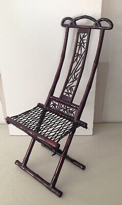 Vintage Chinese Bamboo Folding Rope Chair