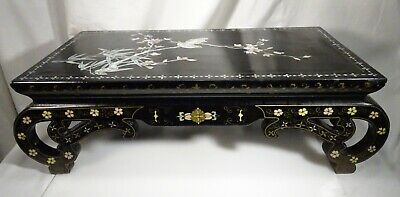 Vintage Japanese Black Lacquer Mother of Pearl MOP Inlaid Low Table  - 57695