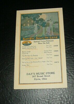 RARE !!!  1923 Victor Records ADVERTISING Postcard - ELYRIA, OHIO
